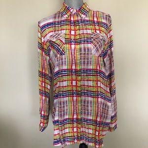 CAbi | Colorful Plaid Button-Up Roll Tab Shirt - M